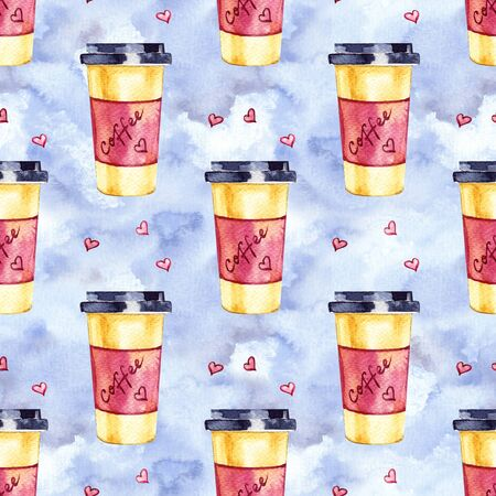 Watercolor seamless pattern with disposables cups of coffee and hearts. Hand painted illustration