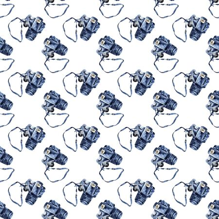 Watercolor painting - photo camera background, seamless pattern.