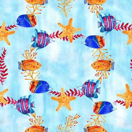 High quality watercolor seamless pattern with underwater life objects. It can be used for wallpaper, background, print, textile design, wrapping paper, cover.