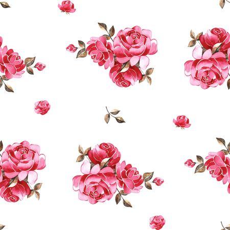 Aquarellblumenmuster mit sanft rosa englischen Rosen- und Frühlingsblumen. Nahtloses Muster der Weinlese. Standard-Bild