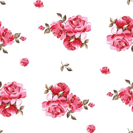 Watercolor floral pattern with gently pink English rose and spring flowers. Vintage seamless pattern. Stock fotó