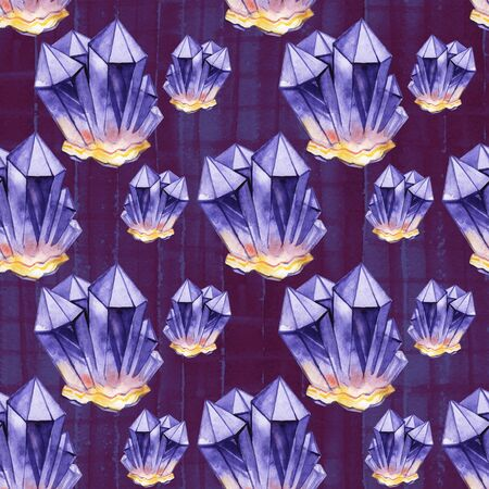 Watercolor crystals in violet colors. Hand drawn seamless pattern