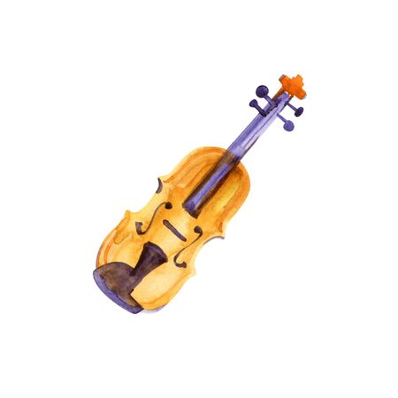 A watercolour and ink drawing of a violin with splashes of golden paint and copy space Stock Photo