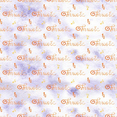 Watercolor illustration music notes and keys set. Seamless pattern. Banque d'images - 128010127