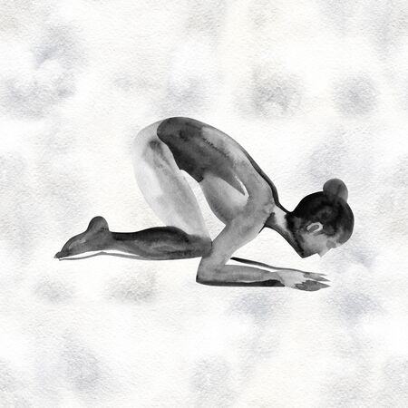 Watercolor yoga pose. Asana. Healthy lifestyle and relaxation. Banco de Imagens