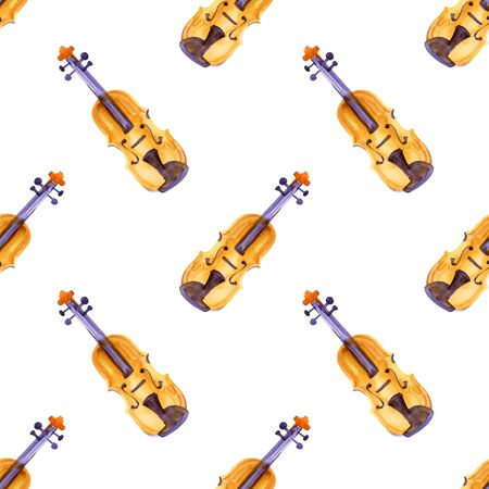 Watercolor seamless pattern for Valentine Day with violin and hearts, romantic music and love, hand drawing illustration for wrapping paper, textile, fabric.