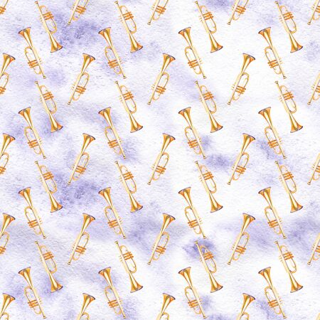 A seamless pattern with hand drawn music instruments on a watercolor texture.