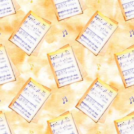 Watercolor  music notes and keys set. Seamless pattern. Stockfoto