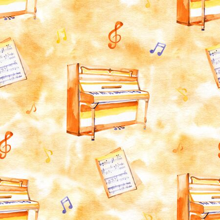 A seamless pattern with hand drawn music instruments on a watercolor  texture. Stockfoto