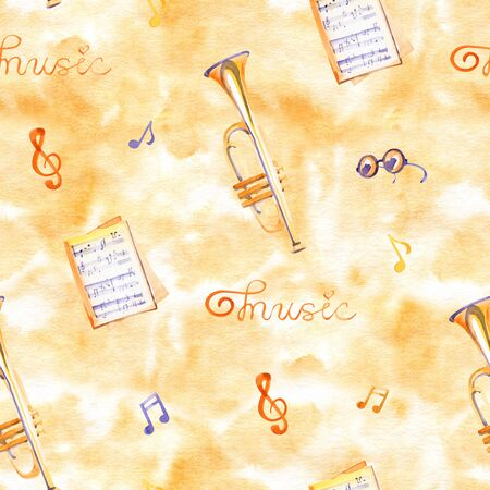 A seamless pattern with hand drawn music instruments on a watercolor texture. Standard-Bild