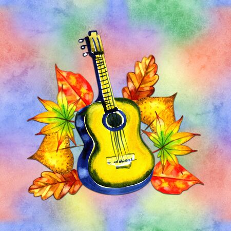 Abstract guitar decorated with autumn leaves.