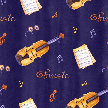 A seamless pattern with hand drawn music instruments on a watercolor  texture. Фото со стока