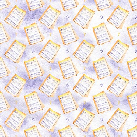 seamless pattern with blue musical notes and signs. Hand drawn bright watercolor elements on white background. Stock Photo
