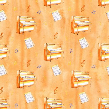 A seamless pattern with hand drawn music instruments on a watercolor background texture.