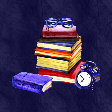 Watercolor illustration. Retro glasses with books and clock. Antique objects. Reklamní fotografie