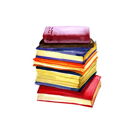 Watercolor illustration of books. Original hand drawn old closed school books isolated on white background. School design. ClipArt elements