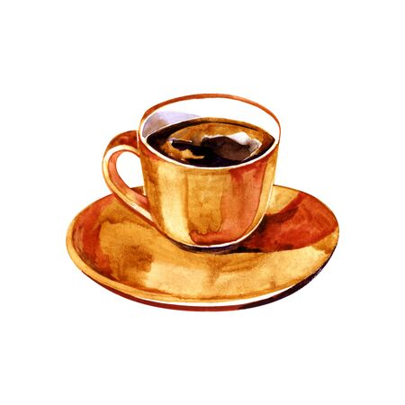 Cup of coffee. Americano. Watercolor illustration. Perfect for greeting cards, wedding invitations, packaging design and decorations.