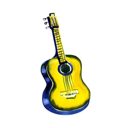 A freehand watercolor drawing of a golden guitar isolated on white background Stock Photo