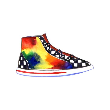Multicolored sneakers watercolor illustration. Perfect for greeting cards, wedding invitations, packaging design and decorations. Stok Fotoğraf