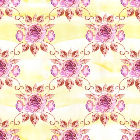 Watercolor roses seamless pattern. Seamless texture with boho roses. Hand painted vintage gardening background. Zdjęcie Seryjne