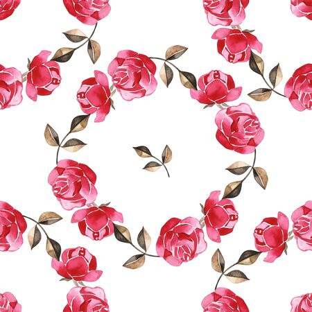 Watercolor hand-drawn beautiful seamless pattern with bouquets of bright peonies and foliage Zdjęcie Seryjne