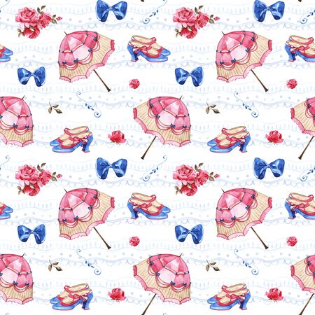 Watercolor seamless pattern. Wallpaper with vintage umbrella. Hand drawn vintage texture.