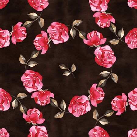 Watercolor floral pattern with gently pink English rose and spring flowers. Vintage seamless pattern.