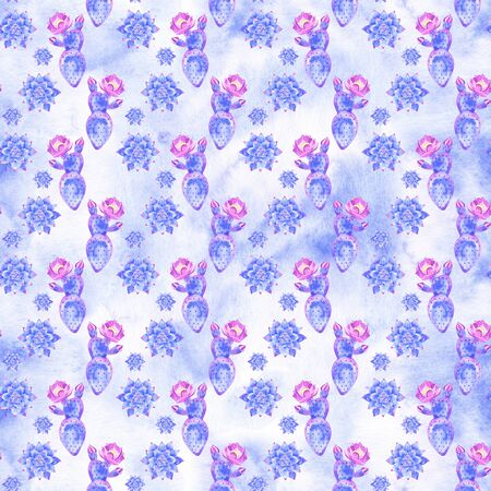 Watercolor succulents seamless pattern. Seamless texture hand painted boho vintage gardening background.