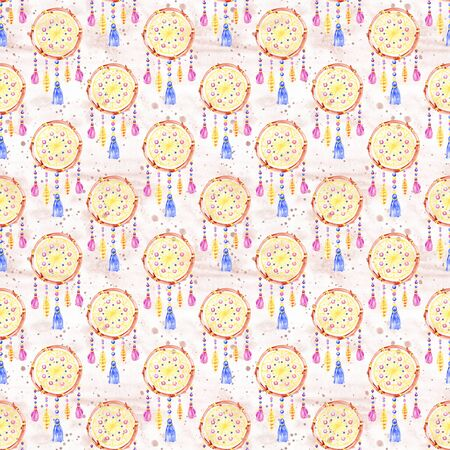 Seamless pattern with dreamcatchers, hand drawn in watercolor. Seamless texture with hand drawn feathers. Illustration for your design. Bright colors. 写真素材