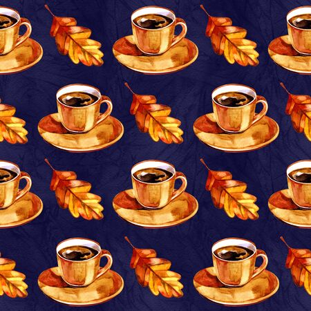 Watercolor seamless pattern with autumn symbols. Hand painted illustration with cup of hot drink and yellow leaves