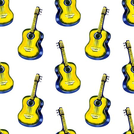 Seamless watercolor pattern acoustic classic wooden yellow guitar for textiles, wallpaper, wrappers, fabric.