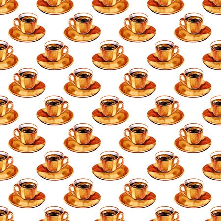 Watercolor seamless pattern of color cups with coffee. Illustration for your design. Bright colors.