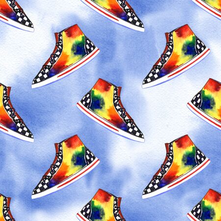 Watercolor multicolored sneakers seamless pattern. Color mood hand draw illustration