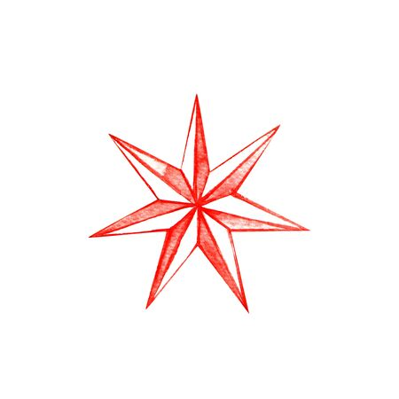 Big red seven pointed Christmas star. Watercolor illustration on a white background.