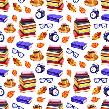 Autumn mood seamless watercolor pattern with books. Hand painted repetitive romantic illustration.