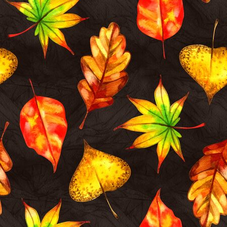 Leaves seamless pattern. Watercolor illustration. Hand painted background Фото со стока