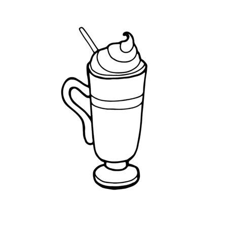 Coffee House, sign with glass of irish coffee Ilustracja