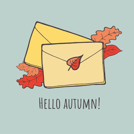 Envelope by mail. Autumn vector illustration icon.