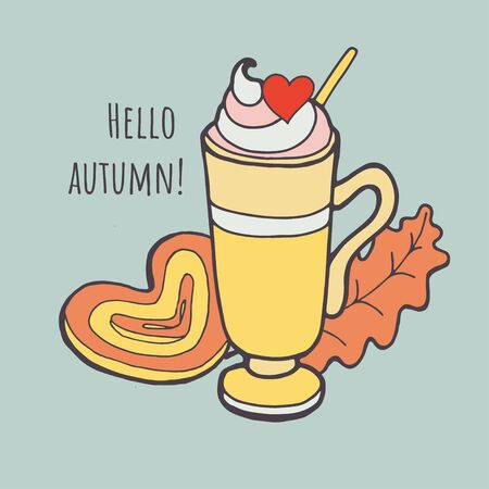 Cup hot cappuccino coffee with autumn leaves. Autumn mood concept. Warm autumn picture. Fall illustration. Ilustracja