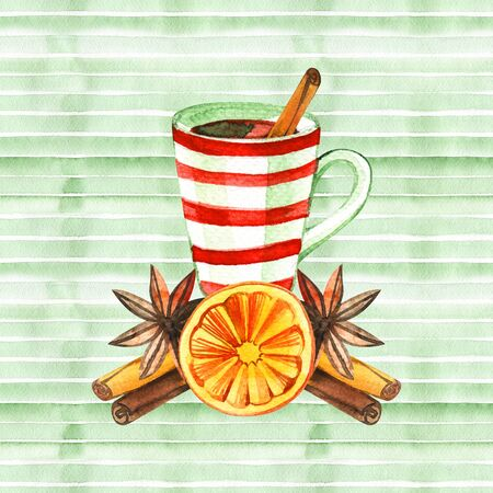 Cute winter greeting card with a mug of hot chocolate.Merry Christmas and Happy New Year collection.