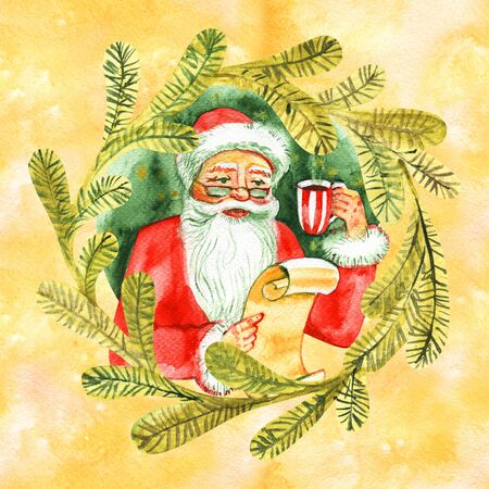Vintage watercolor cute Santa Claus drinking hot tea, coffee, Santa Claus in chair, Fairytale winter watercolor Christmas illustration, Holiday design elements