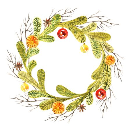 New year wreath - fir tree. Watercolor illustration, greeting card Stockfoto - 129239928