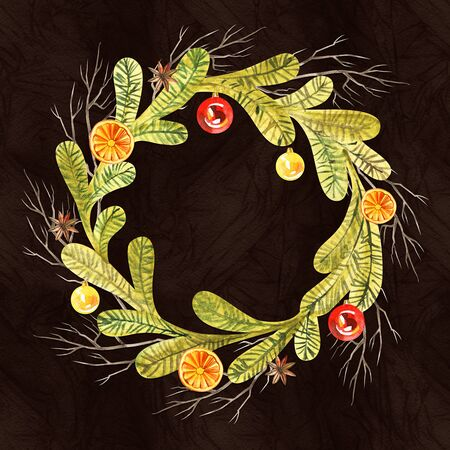 New year wreath - fir tree. Watercolor illustration, greeting card. Banco de Imagens