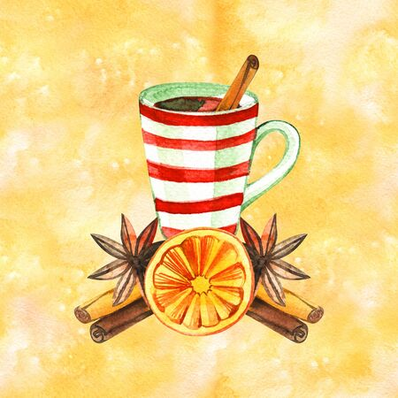 Mug of Hot winter tea with orange, cinnamon, anise, clove and walnut, watercolor, hand drawn - Illustration.