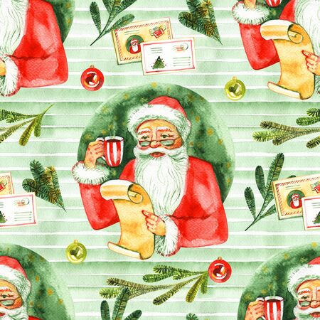 Christmas seamless background with letter to Santa. New Year and Christmas holiday vintage pattern, watercolor and graphic hand drawn illustration with lettering.