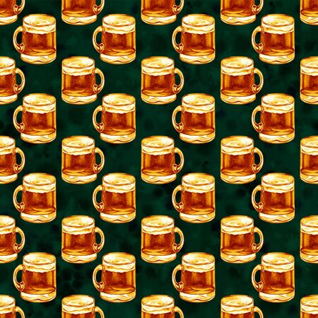 seamless pattern with watercolor mugs of beer, alcohol drinks ornament, oktoberfest background, hand drawn illustration. St. Patricks day