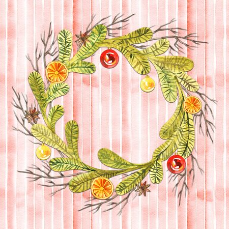 New year wreath - fir tree. Watercolor illustration, greeting card
