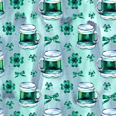 Seamless background with St. Patricks Day symbols. Watercolor hand drawn illustration with glass of beer. Holiday pattern. 写真素材