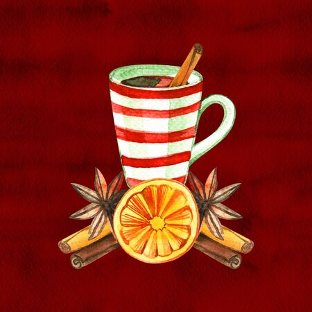 Mug of Hot winter tea with orange, cinnamon, anise, clove and walnut, watercolor, hand drawn - Illustration