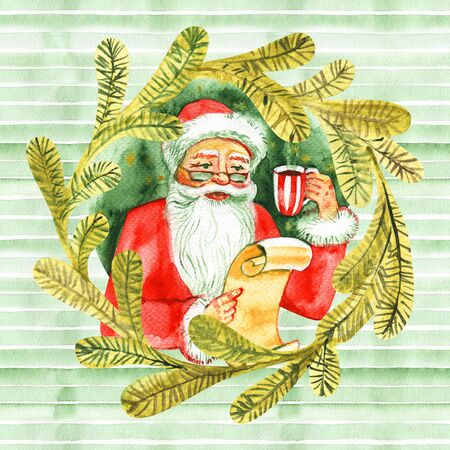 Vintage watercolor cute Santa Claus drinking hot tea, coffee and reads letters. Fairytale winter watercolor Christmas illustration, Holiday design elements Reklamní fotografie